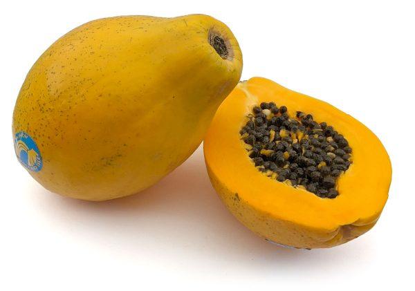 Rainbow papaya fruit, sliced in half